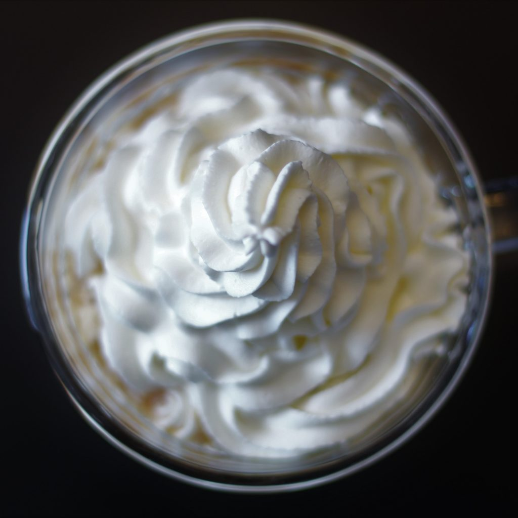 top down view of whipped cream swirl