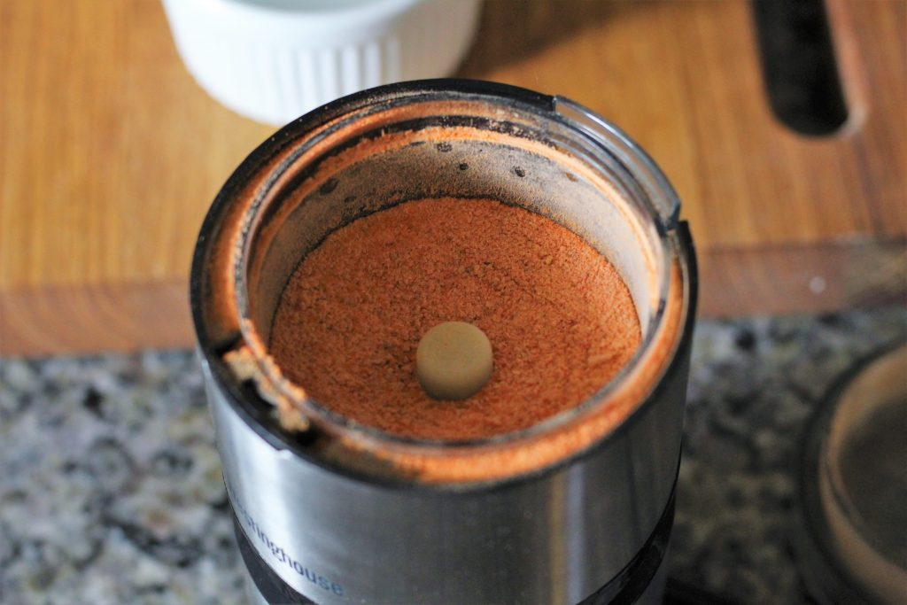 carrot powder in a spice grinder