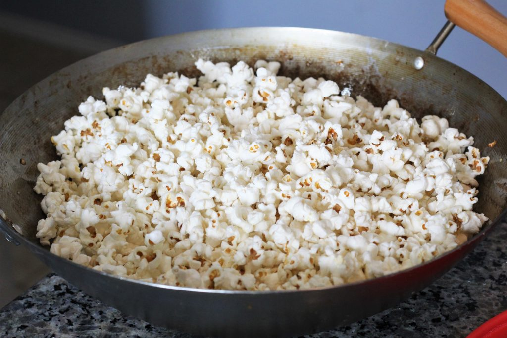 popped popcorn in pan