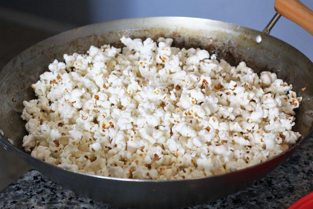 popped popcorn in pan