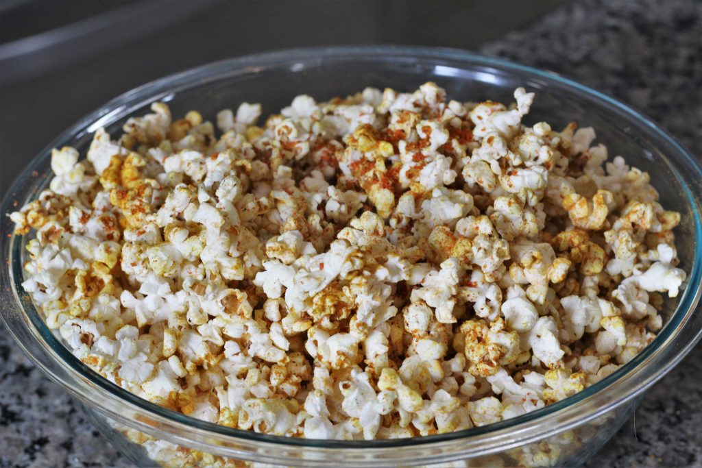 popcorn with the spices added