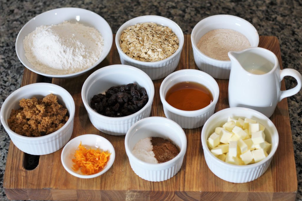 All the ingredients measured out into small bowls.