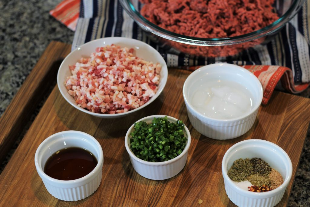 The ingredients of the recipe set out in little bowls.