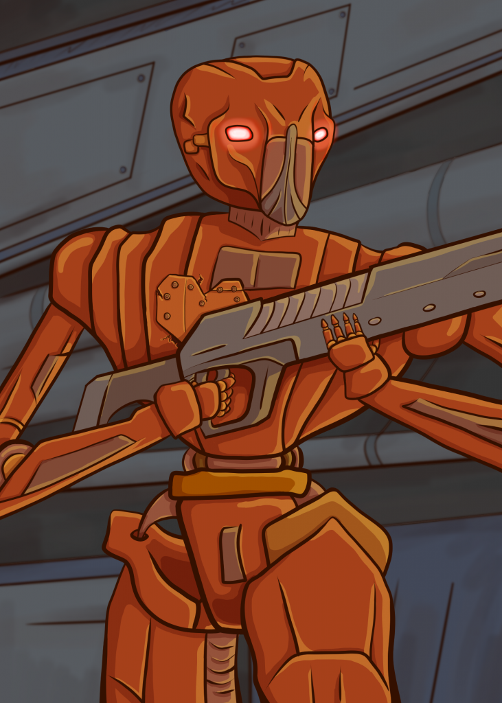 "Hank is a copper HK series droid and is holding a large gun with his tiny ""baby"" hands."