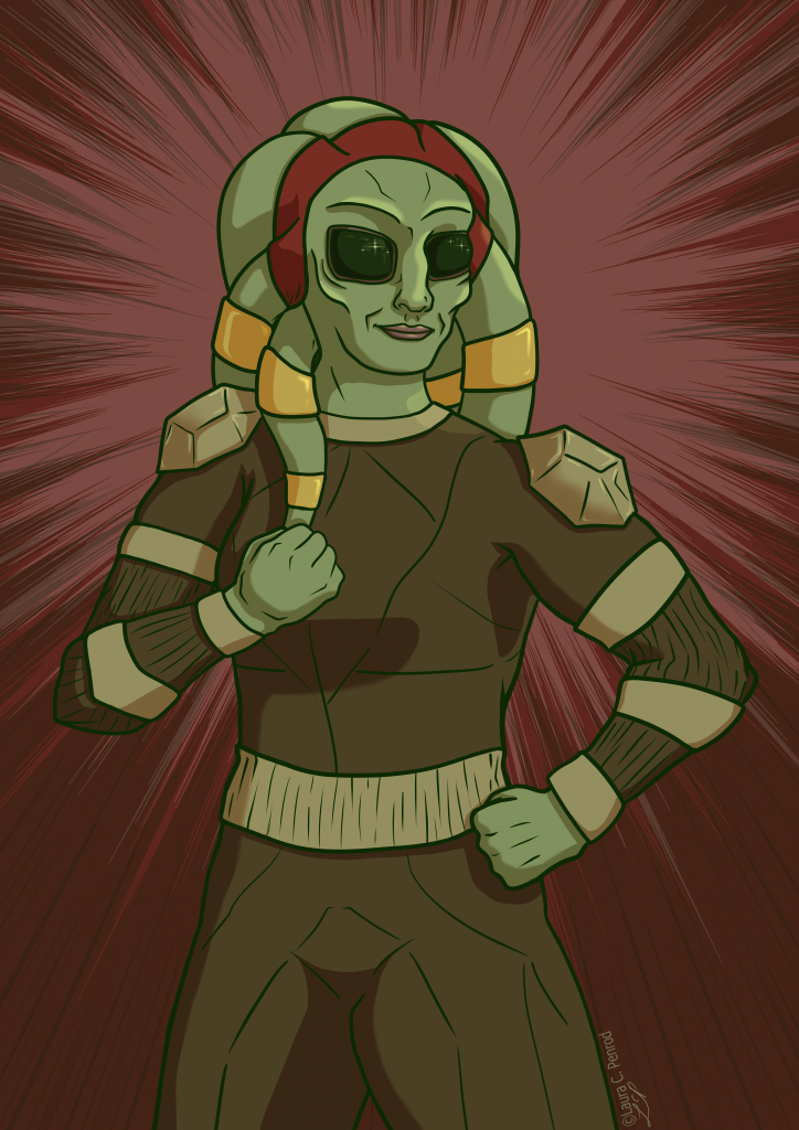Karma, a green Nautolan wearing a red headband and an armored bodysuit.